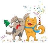 Ejemplo de la historieta para el perro del Año Nuevo y de la historieta de la Navidad gato divertido y que abrazan, aislado en el libre illustration
