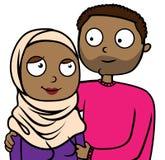 Ejemplo de la historieta de pares inmigrantes musulmanes felices en amor ilustración del vector