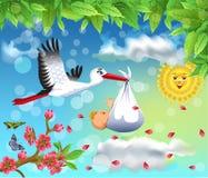 Ejemplo de la historieta de un vuelo de la cigüeña con un bebé en un fondo de la primavera libre illustration