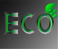 Ejemplo de la hoja del verde del logotipo de la ecología de Eco en el metal negro Imágenes de archivo libres de regalías