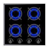 Ejemplo de la hornilla de la estufa de gas sobre la oscuridad, vector Imagen de archivo libre de regalías