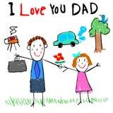 Ejemplo de la imagen del dibujo del papá del amor del niño Imagen de archivo libre de regalías