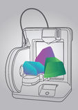 Ejemplo de la impresora 3D Imagen de archivo libre de regalías
