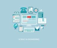 Ejemplo de la ingeniería informática con los iconos y el texto Fotografía de archivo libre de regalías