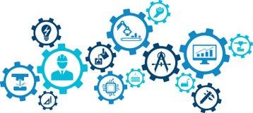 Ejemplo de la ingeniería: numeración, tecnología, innovación - concepto abstracto stock de ilustración
