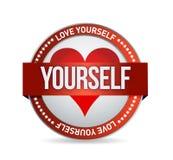 Ejemplo de la insignia del amor usted mismo Fotografía de archivo libre de regalías