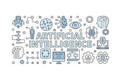 Ejemplo de la inteligencia artificial Bandera mínima del AI del vector Imagen de archivo libre de regalías