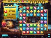 Ejemplo de la interfaz de usuario y del terreno de juego para un juego de ordenador tres en fila Caza del tesoro Foto de archivo