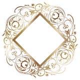 Ejemplo de la invitación de boda Oro e invitación blanca adentro Plantilla nupcial de la ducha ilustración del vector