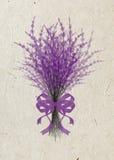 Ejemplo de la lavanda del ramo con la cinta festiva de la lila aislada en fondo beige del papel de arroz Imagenes de archivo