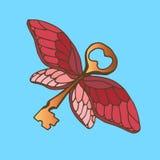 Ejemplo de la llave con las alas Llave de oro con las alas de una mariposa del vuelo Fotografía de archivo libre de regalías
