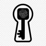 Ejemplo de la llave de la huella dactilar, ojo de la cerradura del vector El concepto de identificación para abrir una cerradura  stock de ilustración
