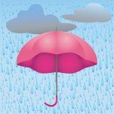 Ejemplo de la lluvia y de las nubes del paraguas Foto de archivo