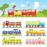 Ejemplo de la locomotora del juguete del transporte del ferrocarril del viaje del vector del tren de los niños del regalo del jue Foto de archivo libre de regalías