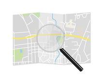 Ejemplo de la lupa del mapa de la ciudad Fotografía de archivo libre de regalías