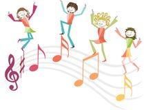 Ejemplo de la música con la gente y las notas de la música Imágenes de archivo libres de regalías