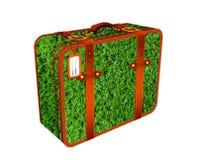 Ejemplo de la maleta del viaje hecho de campo de hierba Foto de archivo libre de regalías