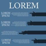 Ejemplo de la mano infographic en diseño plano en fondo Imagenes de archivo