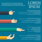 Ejemplo de la mano infographic en diseño plano en fondo Foto de archivo libre de regalías