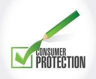ejemplo de la marca de cotejo de la protección al consumidor stock de ilustración