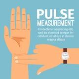 Ejemplo de la medida del pulso para el cartel médico stock de ilustración
