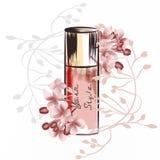 Ejemplo de la moda con la botella de perfume ilustración del vector