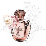 Ejemplo de la moda con la botella y las rosas de perfume ilustración del vector