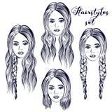 Ejemplo de la moda con diversos peinados de la mujer joven libre illustration
