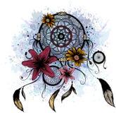 Ejemplo de la moda con el colector y las flores ideales Diseño dibujado mano stock de ilustración