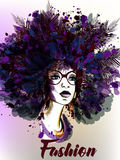 Ejemplo de la moda con la mujer joven hermosa stock de ilustración