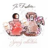 Ejemplo de la moda con los pares de la botella y de las rosas de perfume stock de ilustración