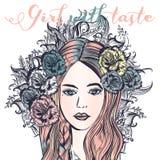 Ejemplo de la moda con la muchacha cabelluda rosada hermosa Mujer con libre illustration