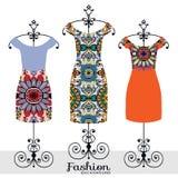 Ejemplo de la moda del vector, colección del vestido de las mujeres Fotos de archivo libres de regalías
