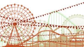 Ejemplo de la montaña rusa y de Ferris Wheel. Foto de archivo