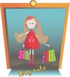 Ejemplo de la muchacha con los bolsos de las compras Imágenes de archivo libres de regalías