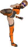 Ejemplo de la muchacha de Kickboxing del animado aislado Imagen de archivo