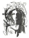 Ejemplo de la muchacha de la moda Dé el retrato exhausto de una cara del modelo de la mujer joven bosquejo, marcador, acuarela Fotos de archivo libres de regalías