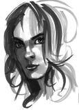 Ejemplo de la muchacha de la moda Dé el retrato exhausto de una cara del modelo de la mujer joven bosquejo, marcador, acuarela Foto de archivo