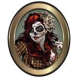 Ejemplo de la muchacha del cráneo del azúcar stock de ilustración