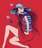 Ejemplo de la muchacha en el sombrero que se sienta, impresión de la camiseta stock de ilustración