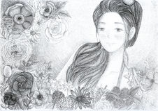 Ejemplo de la muchacha y de la flor Stock de ilustración