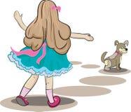 Ejemplo de la muchacha y del pequeño perro Imágenes de archivo libres de regalías