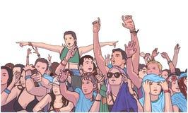Ejemplo de la muchedumbre étnica mezclada del festival que va de fiesta en la lluvia stock de ilustración