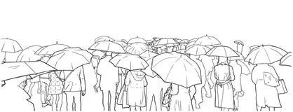 Ejemplo de la muchedumbre de gente que espera en la travesía de la calle en la lluvia con las capas y los paraguas de lluvia ilustración del vector