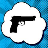 Ejemplo de la muestra del arma Vector Icono negro en burbuja en estallido azul stock de ilustración