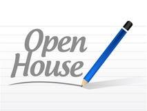ejemplo de la muestra del mensaje de la casa abierta Fotografía de archivo