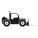 Ejemplo de la muestra del tractor Vector Icono negro en el fondo blanco Imagen de archivo libre de regalías