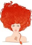 Ejemplo de la muestra del zodiaco de leo como muchacha hermosa Foto de archivo