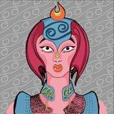 Ejemplo de la muestra del zodiaco del cáncer como muchacha hermosa Imagen de archivo libre de regalías