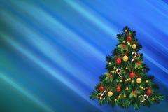 Ejemplo de la Navidad con el abeto adornado verde Foto de archivo